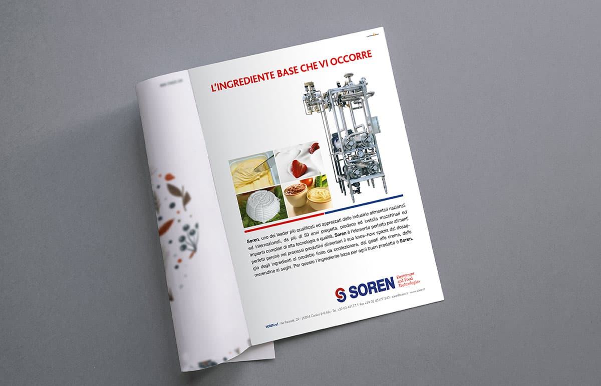 Pagina pubblicitaria Soren