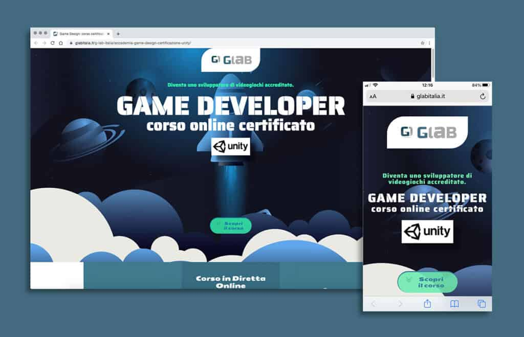 Landing page Corso game developer