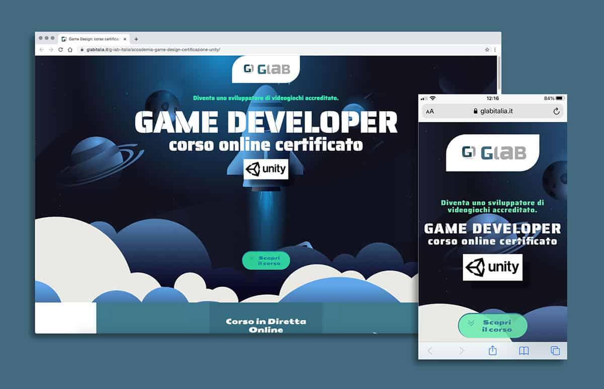 Landing page Corso game developer