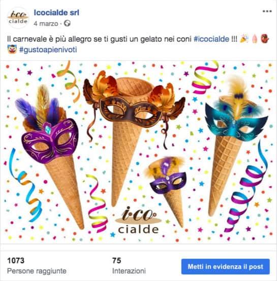 Post Facebook carnevale